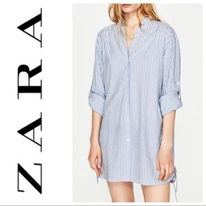 Zara striped lace up sides tunic blouse